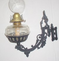 Antique Cast Iron Oil Lamp Wall Bracket Lamp Complete ...