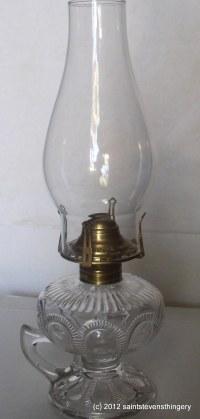 Antique Zipper Loop Pattern Finger Kerosene Oil Lamp And ...