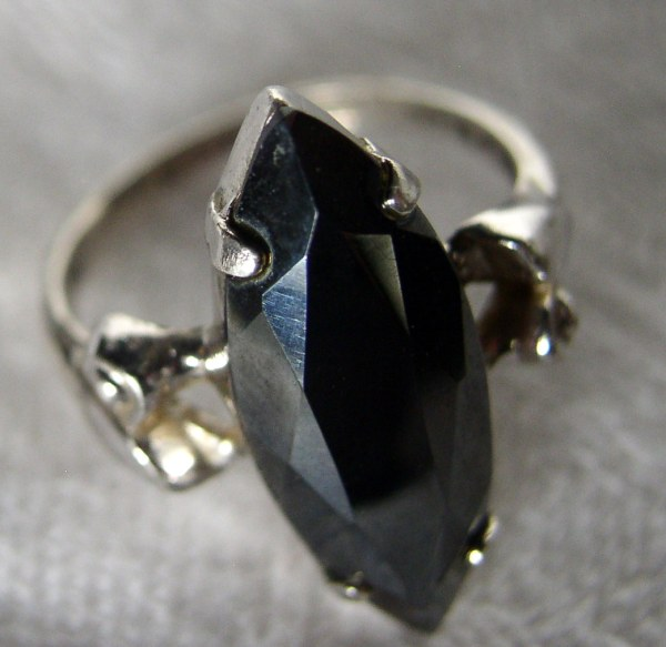 Vintage Clark & Coombs Sterling Silver Hematite Marquis