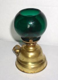 Antique Brass Finger Oil Lamp with Green Cigar Lighter ...
