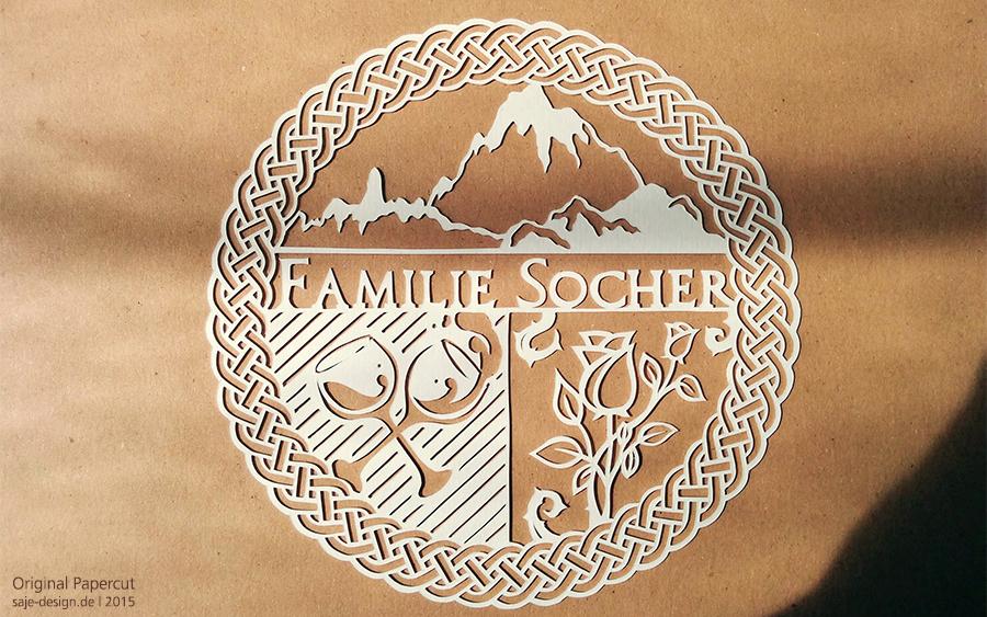 Scherenschnitt: Familie Socher