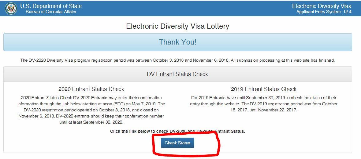 Dv Lottery 2019 Status Check