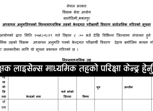 TSC License Exam Center Notice - SecondaryTeacher service commission Nepal Secondary teacher license is almost ready to publish. Most probably it will publish. So remain with us for all the details about the examination center information.Teaching License Exam Center 2076Shikshak Sewa Aayog Nepal has been published teacher license exam center. We will attach the Teacher License Exam center in this post. So remain with us for all the details about the Teaching License Exam 2076 information.