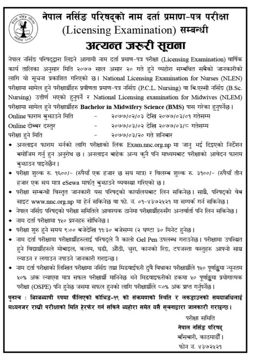 Licensing Exam Notice from Nepal Nursing Council