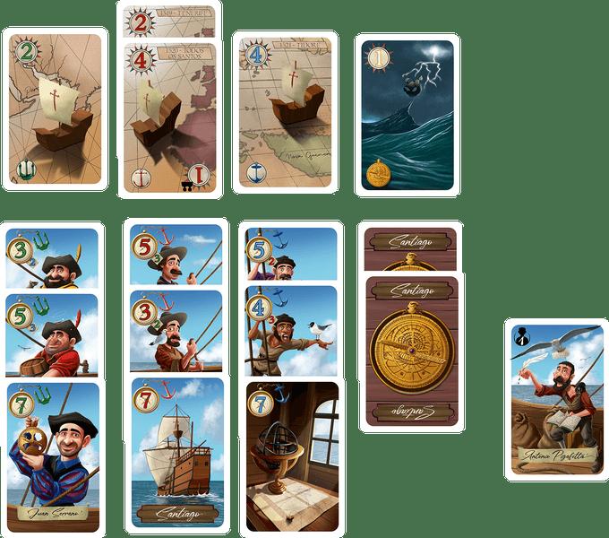 Quelques cartes issues du jeu Magellan Elcano.
