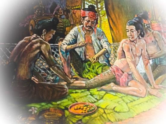 Ancient Sak Yant Scene - Original Painting property of Ajarn Spencer Littlewood