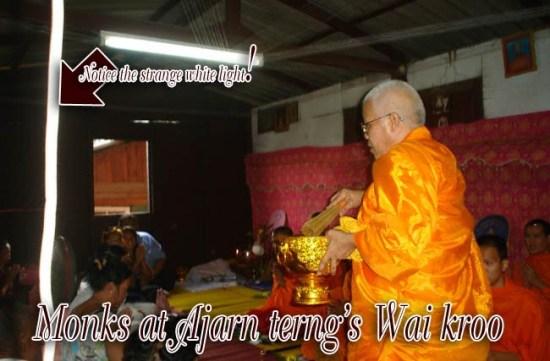 Bhikkhus attending the blessin ceremony for Wai Kroo day at Ajarn Terng's Samnak Sak yant