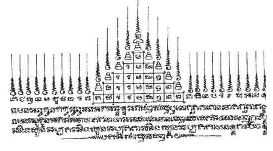 Yant Gao Yord Nine Peaks of ount Meru Sakyant Tattoo Design by Ajarn Off