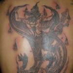 Sak Yant Paya Krut Song Nak- Garuda on Nagas Tattoo