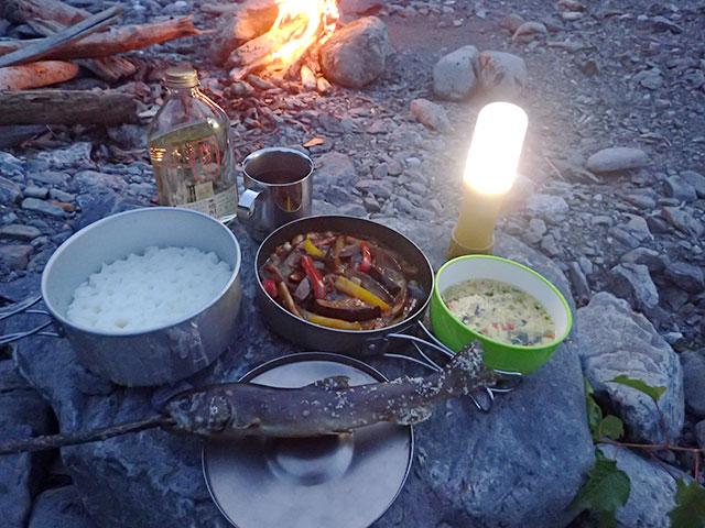 160808三峰川夕食