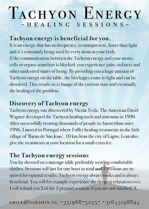 Tachyon energy flyer backside