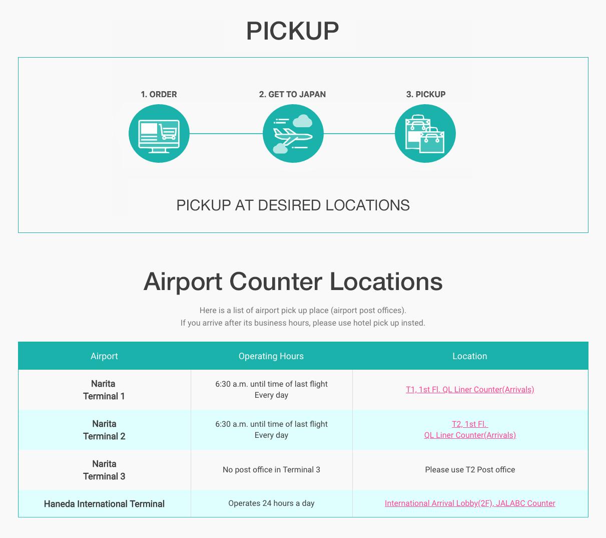 Pick up at Narita Airport