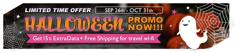HALLOWEEN PROMO NOW! TRAVEL WIFI 15% Extra 4G Data. Free Shipping.