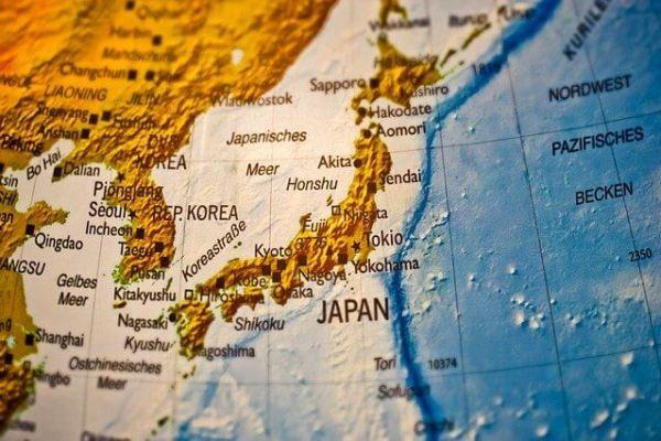 Japan globe map