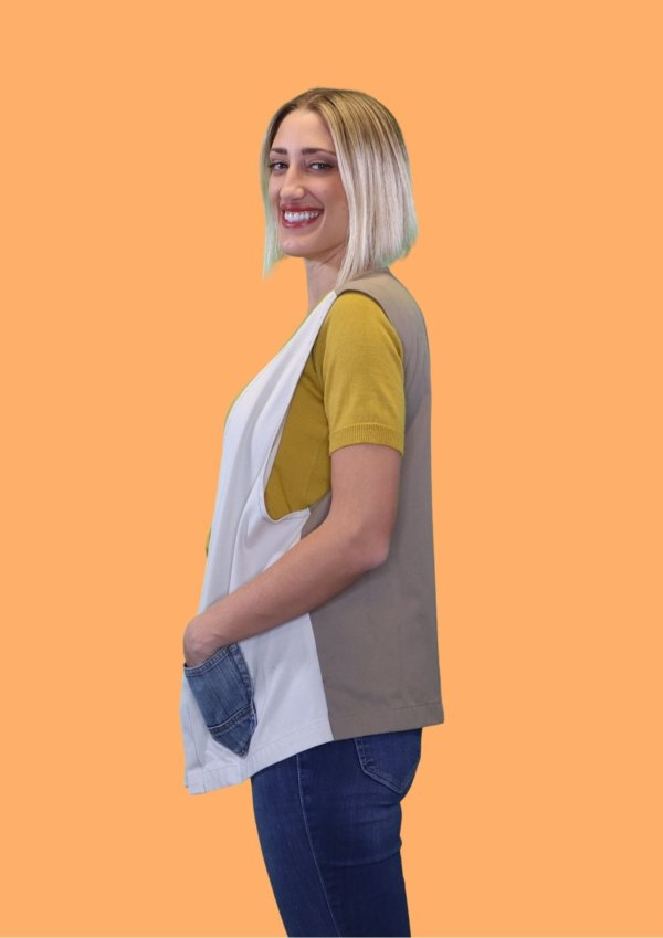 Bright Vest with navy patch pockets and tan back.