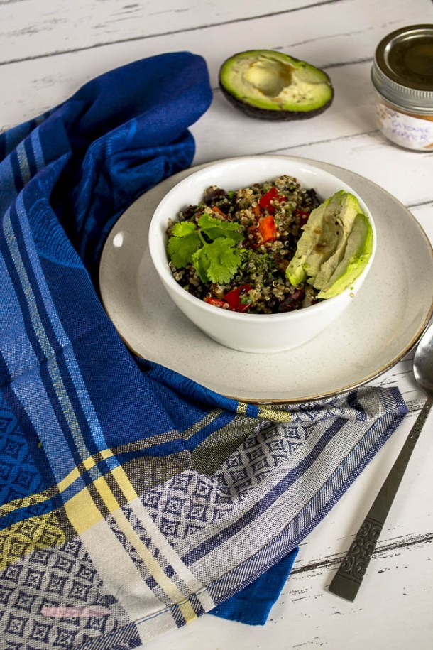 This Spicy Lime Black Bean Quinoa Salad features a simple combination of fresh vegetables, black beans, and quinoa in a zesty lime dressing that makes this the perfect weekday meal!