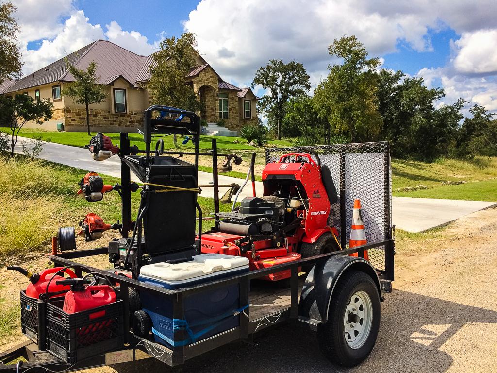 San Antonio Lawn Mowing lawn care setup