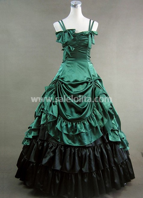 New Arrival Hot Green Satin Gothic Victorian DressProm Gown Dresses 2016