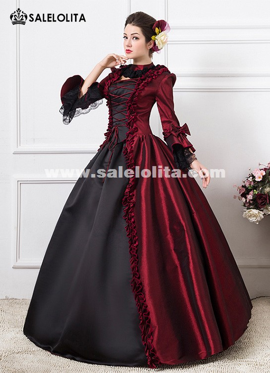 Wine Red 1800s Victorian Dance Dress Gothic Victorian