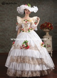 Noble White Lace Embroidery Marie Antoinette Wedding Dress ...