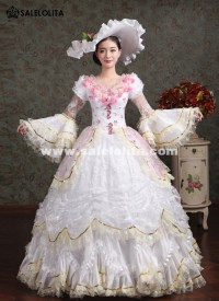 Elegant White Pink Flower Marie Antoinette Costume Wedding ...