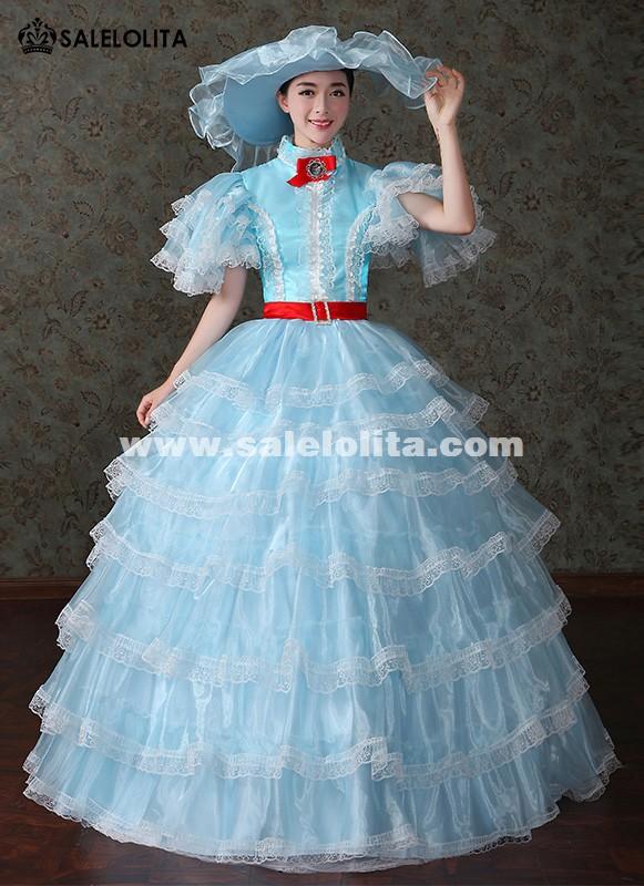 Brand New Blue Marie Antoinette Princess Renaissance Medieval Wedding Dresses Southern Belle