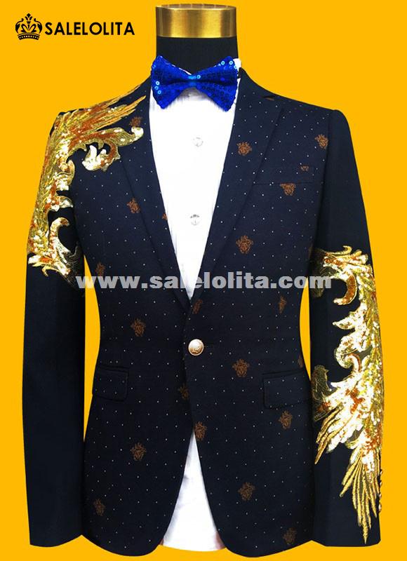 Fashion GoldBlue Embroidered Paillette Men Suits Male