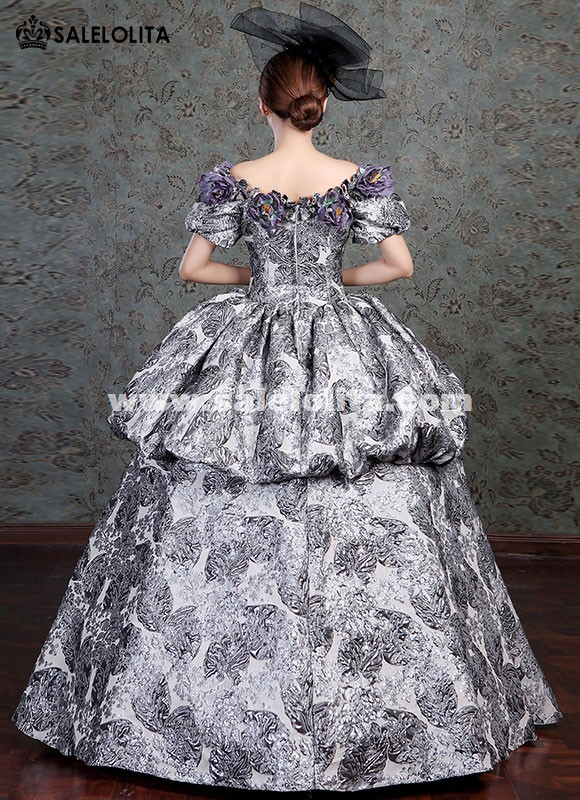 Sky Blue Lace Vampire Masquerade Ball Dress Civil War Southern Belle Ball Gown Marie Antoinette 18th Century Costume Home