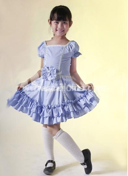 Blue Short Sleeves Cotton Applique Kids Lolita Dress