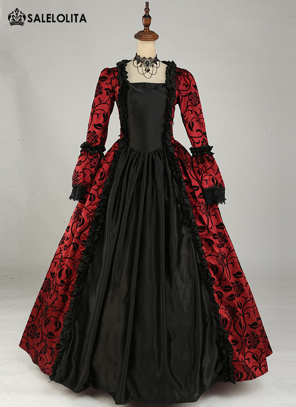 Victorian Gothic Steampunk Dress Brocade Long Sleeve Prom