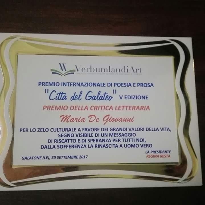 """Maria De Giovanni premiata nell'ambito della rassegna Premio internazionale di Poesia e Prosa """"Città del Galateo"""