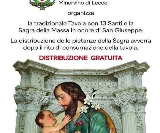 Il circolo Caccia e Pesca , Santu Vasili, fra devozione e preghiere, promuove la tavola di San Giuseppe, in piazza a Minervino