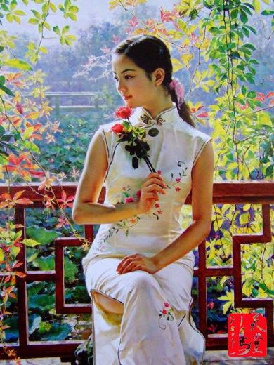 guan zeju spring beauty painting