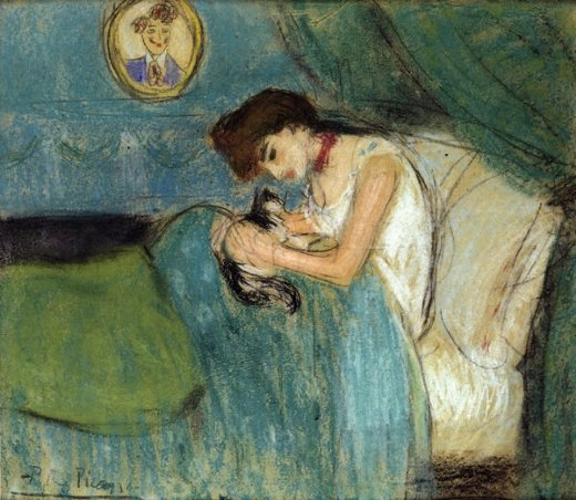 Painting of Woman in Bed