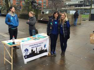 Mary Gee (left) at the Piccadilly Gardens event