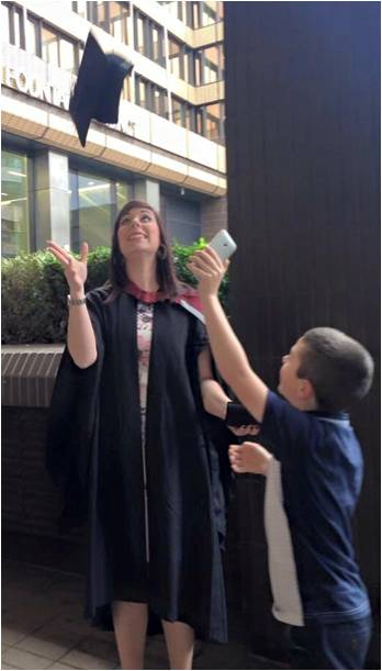 Siobhan at her graduation in 2014 with son Antony.