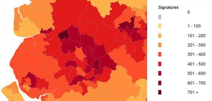 Heat map of amounth of young drivers petition signitures in Greater Manchester