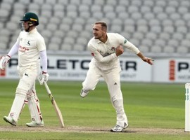 Livingstone bowls against Notts  Credit: Lancashire Cricket