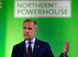 Mark Carney, Governor of Bank of England, wearing an England 'Three Lions' lapel pin, addresses the Northern Powerhouse Business Summit Boiler Shop in Newcastle, Britain, July 5, 2018. REUTERS/Phil Noble