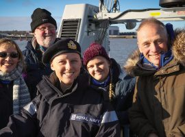 Laura Nuttall and family on HMS charger.
