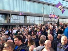 Tommy Robinson BBC protest attracts thousands in Media City