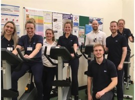 Salford Royal physios cycle 'to Paris' in aid of Comic Relief without leaving hospital