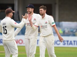 CRICKET: Gleeson takes five to put Lancashire on top against Derbyshire