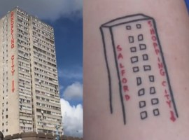 Student gets Salford Shopping City Tattoo
