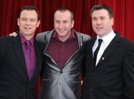 (left to right) Andrew Lancel, Andrew Whyment and Graeme Hawley arriving for the 2011 British Soap Awards at Granada Studios, Manchester. Credit: PA Images