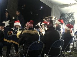 Band live from the Lightoaks Park Christmas Cracker.  Image credit: Mair Llewellyn.