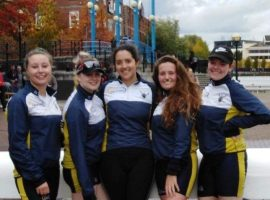 The five senior girls taking part in the 24 hour row.  Image credit: Salford University Boat Club