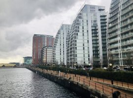 Picture of high rise building with cladding in Salford Quays. Credit: Jameala Afzaal