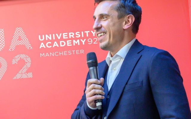 Gary Neville at the launch of UA92 in 2019.