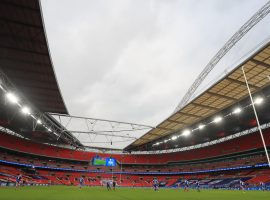 Match action in front of empty stands during the Coral Challenge Cup Final at Wembley Stadium, London. (Image: Mike Egerton/PA Wire/PA Images).
